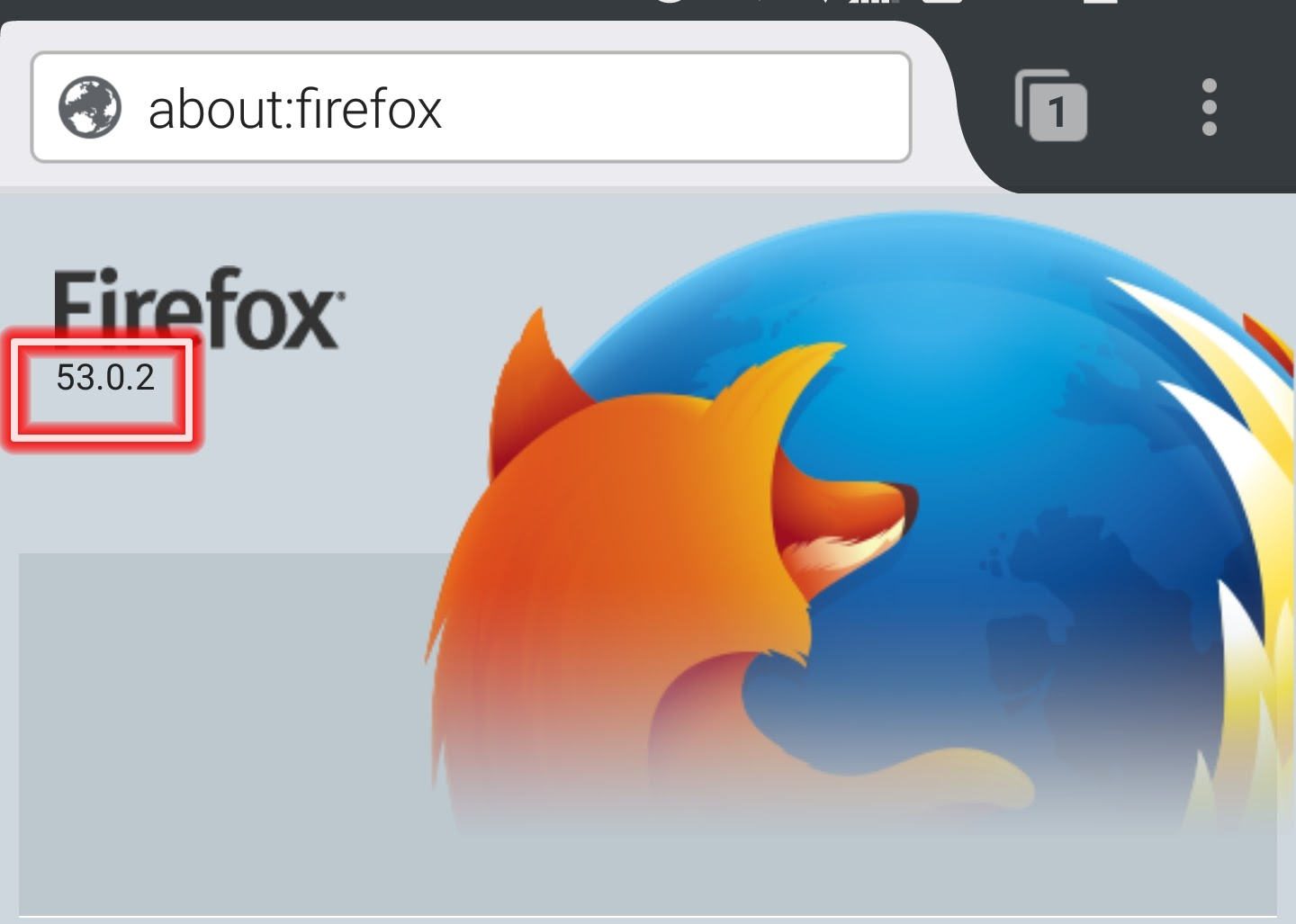 Firefox on Android shows 53.0.2 as the version number, instead of the expected 54
