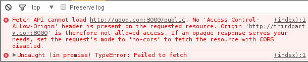 The console shows that a missing CORS header causes the problem