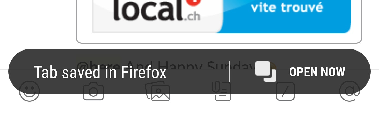 A link that was copied from an email shows a tooltip at the bottom of the screen saying 'Tab saved in Firefox'. It's accompanied by a button to 'Open now'